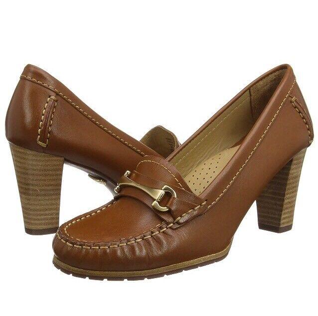 New Women's Hush Puppies Castana Cognat Leather Heels Shoes Size UK 8 EUR 42