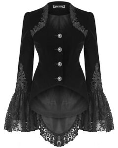 Punk Rave Womens Gothic Riding Jacket Coat Black Velvet Lace Steampunk Victorian