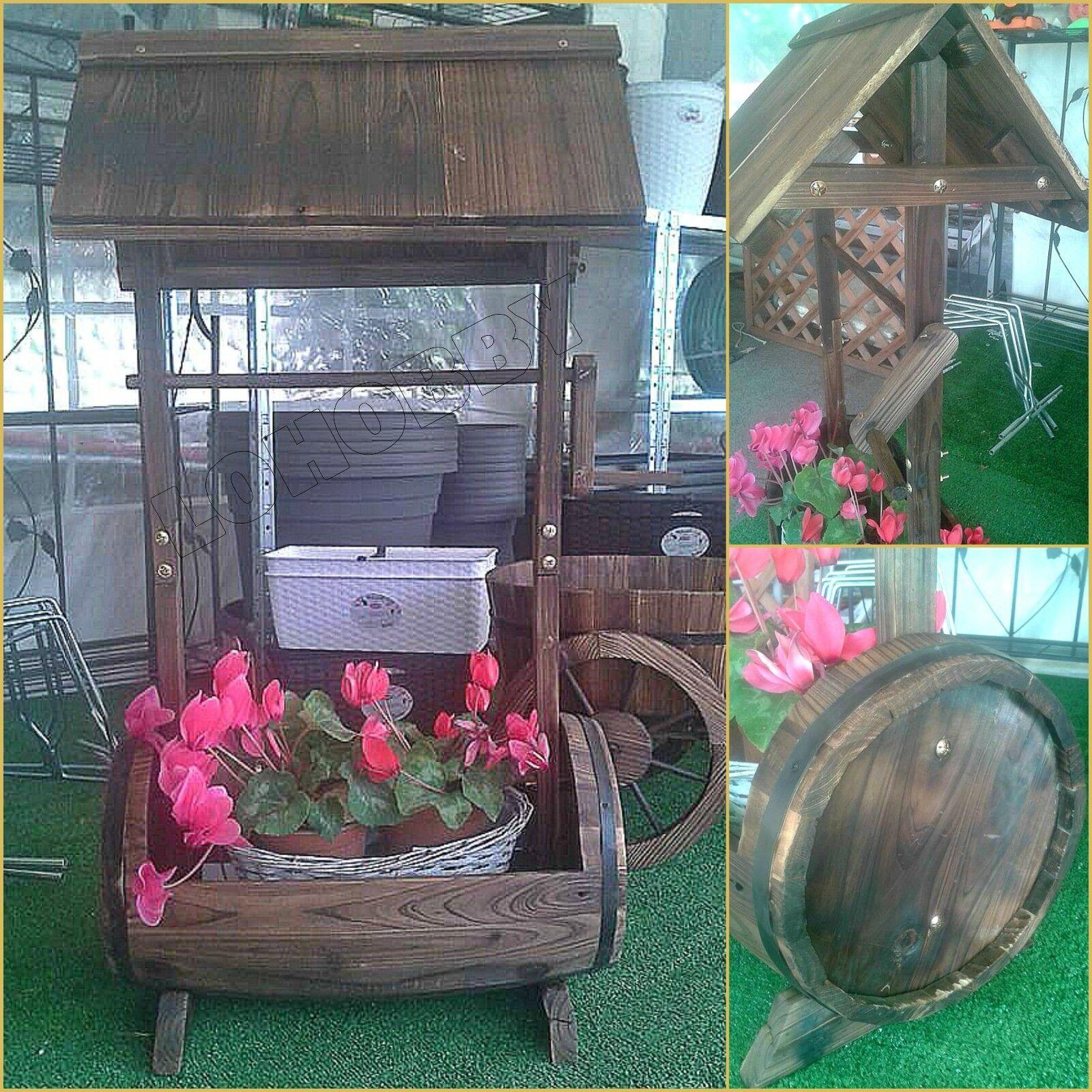 Fioriere Originali Fai Da Te dettagli su portavaso fioriera botte in legno trattato vasi con tetto  giardino fiori vaso