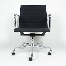 Eames Herman Miller Aluminum Group Executive Desk Chairs Black Fabric 20 Avail