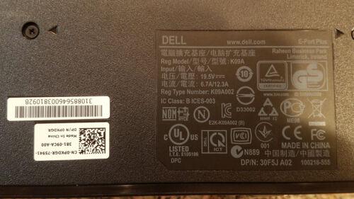Docking Station USB 2.0 USB 3.0 Dell E-Port Plus II Port Replicator K09A PR02X