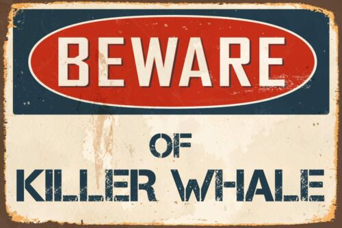 "Beware Of Killer Whale 8/"" x 12/"" Vintage Aluminum Retro Metal Sign VS471"