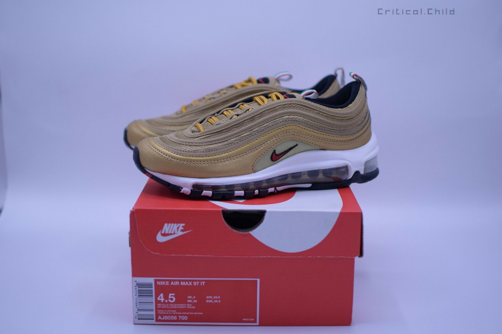 31f31ed8e4 Nike Air Max 97 OG Metallic gold Italian Flag gold AJ8056-700 sz 4.5us