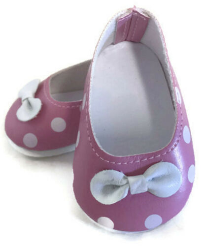 18 inch Doll Shoes fits American Girl Clothes Pink with White Polka Dot Flats