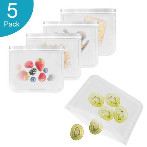 5X PEVA Reusable Leakproof Sandwich Bags Sealed Food Storage Bags   Fruit Snack