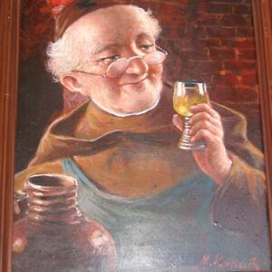Krauss-Max-1902-GENRE-Ein-Geniesser-Moench-mit-Wein-Im-Weinkeller-Weinprobe
