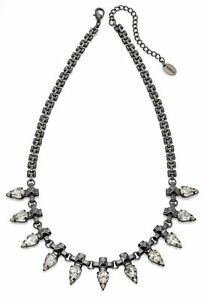 Fiorelli-Costume-Jewellery-Gunmetal-Clear-Crystal-Spike-Necklace-With-Extender