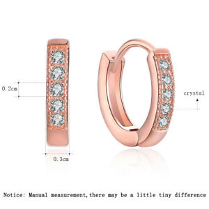 18K-Hoop-Earrings-Women-Rose-Gold-Plated-Small-Round-CZ-Zircon-HUGGIE-Jewelry