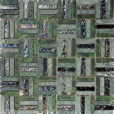 SAMPLE- Green Natural Stone Iridescent Glass Pattern Mosaic Wall Tile Backsplash