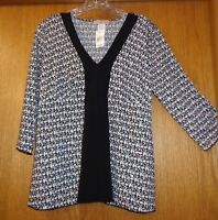 Woman's Sz L - Black & White Slinky Blouse - Obe Top - Glitter Sequins,