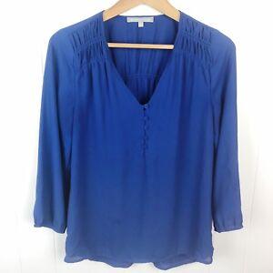 Daniel Rainn Popover Top Blouse Royal Blue Semi Sheer 3/4 Sleeve S Small B17