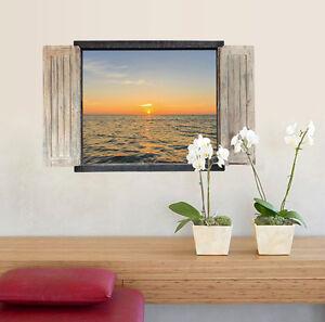 Wandtattoo Wandsticker Natur Ausblick Meer Sonnenuntergang Fenster