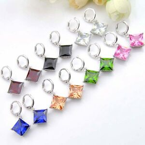 Rectangle-Fire-Kunzite-Morganite-Topaz-Peridot-Agate-Gems-Silver-Dangle-Earrings
