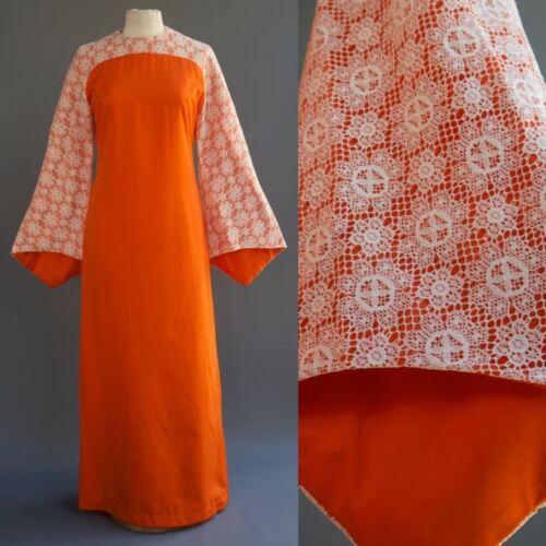 VTG 70s Mod Hippie Electric Orange Crochet Kimono