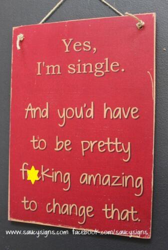 Yes I/'m Single F*cking Sign  ~ Bar Bling Pub Rustic Wood Cute Women Girl Friend