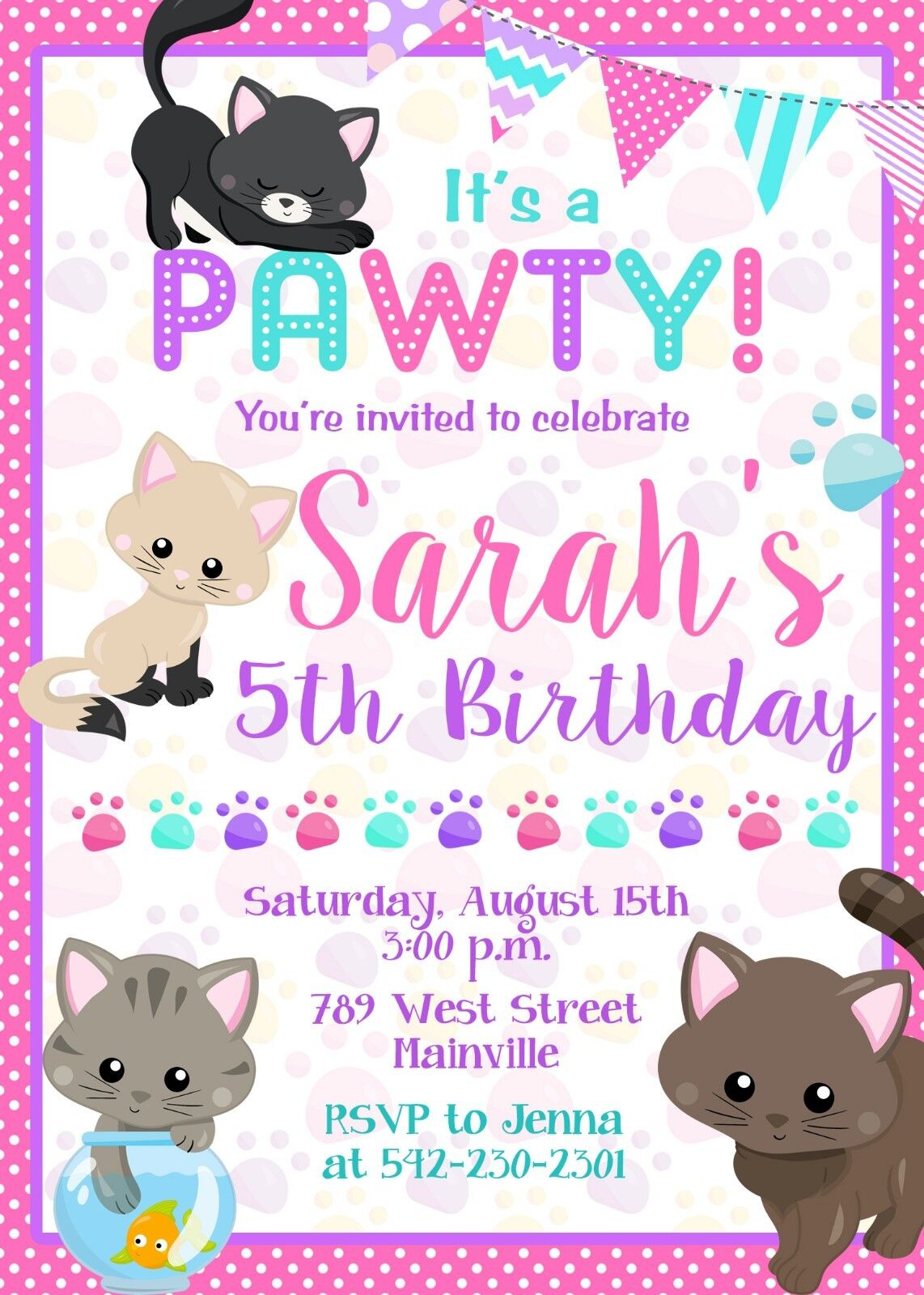 Cat Kitten Kitty Birthday Birthday Kitty Party Invitation Girl