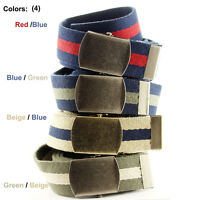 Premium Striped Cotton Fabric Belt, 1-1/2 Wide Four Colors Available