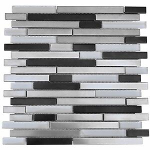Brushed & Black Stainless Steel Metal White Glass Mosaic ...