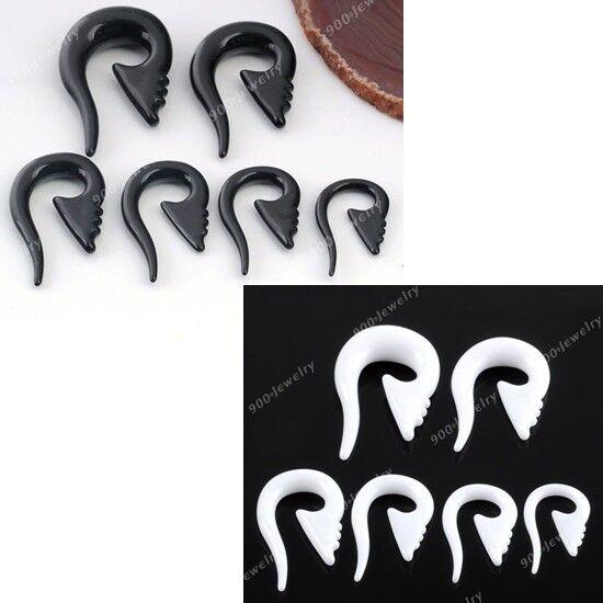 Punk Acrylic Resin Owl Tusk Spiral Ear Taper Plug Earring Expander Stretcher HOT