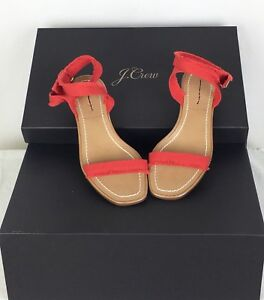 796b9c60385 J. Crew  178 G4814 Fringed Grosgrain Ribbon Block-Heel Sandals Made ...