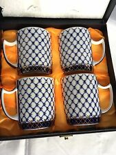 Fine Porcelain Set of 4 CoffeeTea Mugs13oz Cobalt Net 24K Gold Lomonosov Design