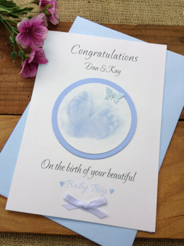 Large Handmade Personalised New Baby Christening Card Little Feet