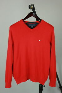 TOMMY-HILFIGER-Men-s-SMALL-Red-Cotton-V-Neck-Sweater-Pullover-RCS10740