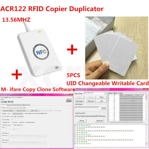 NFC ACR122U RFID Duplicator Reader Writer UID Changeable S50 Card Zero Sector