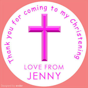 Personalised-Pink-Cross-Christening-stickers-labels-round-party-cone-sheet