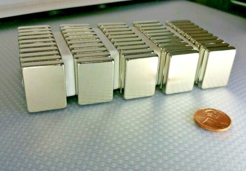 "20 Huge Neodymium Block Magnets Super Strong Rare Earth N52 1/"" × 3//4/"" × 3//16/"""