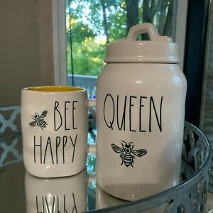 Rae-Dunn-by-Magenta-LL-034-QUEEN-BEE-Canister-BEE-HAPPY-034-Mug