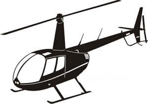Aufkleber Heli Hubschrauber Robinson R44 -schwarz-