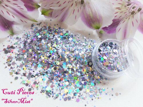 Campanita Fine Myler Gunmetal hexágonos Holográfico Mezcla Brillos Pot Arte en uñas