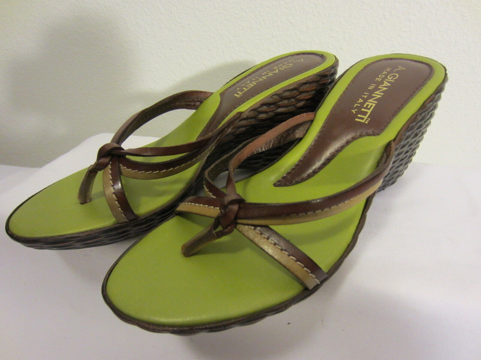 Tan Brown GIANNETTI & Lime Green A GIANNETTI Brown Made ITALY  Wedge Slides Sandals US 7 759c18