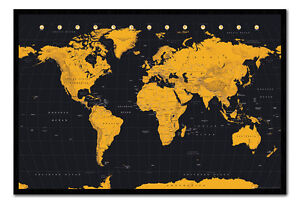 World map in black gold framed cork pin notice board with pins image is loading world map in black amp gold framed cork gumiabroncs Choice Image