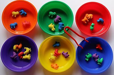Farm Animals Counters Sorting Bowls Jumbo Tweezers - Maths Counters Sorting Set