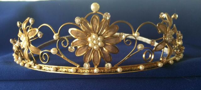 """Antique-Gold -Toned"" Tiara Prom Formal Bridal"""