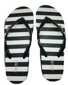 aaae277fcdc5a7 Image is loading Michael-Kors-Navy-White-Stripe-Charm-Flip-Flop