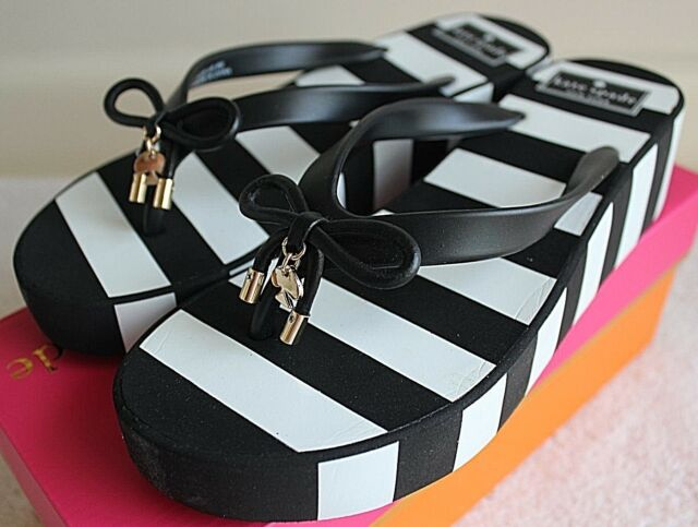 7b44ec0f82fc NIB Authentic KATE SPADE Rhett Wedge Flip Flop in Black   White Stripes  Size 8