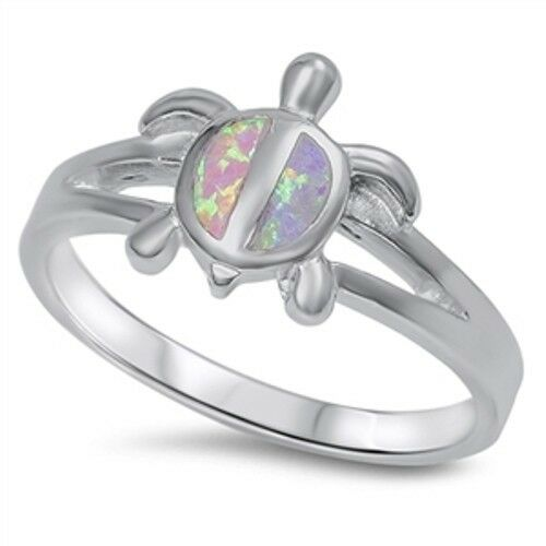 .925 Sterling Silver Lucky Charm Turtle Pink Lab Opal Ring SZ 5 6 7 8 9 NEW