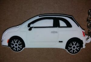 Details About White Fiat 500 Keyring Keychain Schlusselring Porte Cles Cl Abarth Twin Multiair