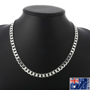 Wholesale-925-Sterling-Silver-Filled-8MM-Classic-Curb-Necklace-Chain-Stunning