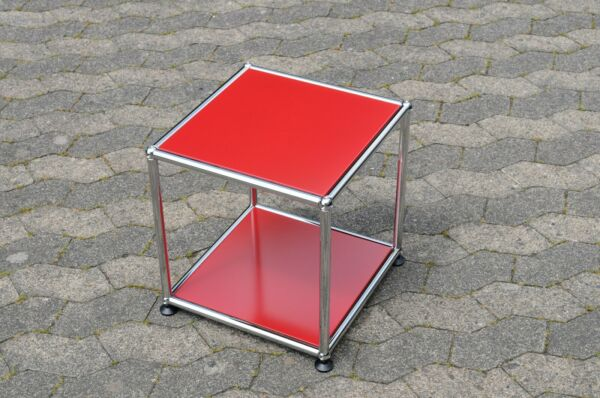 1 Original Usm Haller Tavolino Tavolo Rosso Rubino 37x37x39cm Nuovo Acquista One Give One