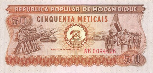 Mozambique  50 Meticais  16.6.1980  Series AB  Uncirculated Banknote AF0517jK
