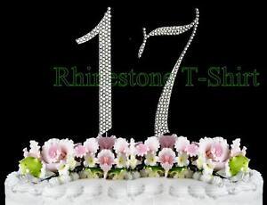 Image Is Loading Large Rhinestone Cake Topper NUMBER 17 WEDDING 17th