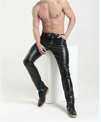 Hot New Men's Casual Slim Fit Skinny warm PU Leather Boots Trousers Pants Black