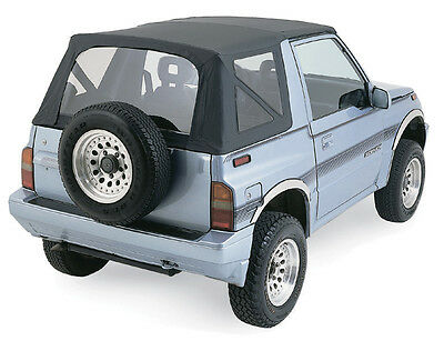 1988-1994 Geo Tracker Replacement Soft Top BLACK 98715 w/ clear rear windows