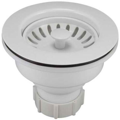 Keeney K1442WH Deep Cup Sink Strainer with Fixed Post Basket White