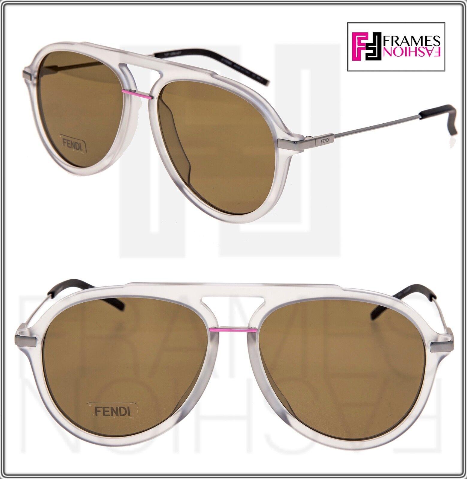 FENDI FANTASTIC FFM0011S Crystal Grey Pink Oversized Aviator Sunglasses 0011 Men