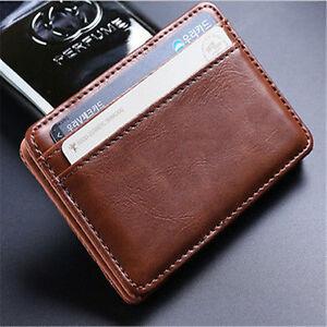 Men's Leather Magic Money Clip Slim Wallet ID Credit Card Holder Case Purse New